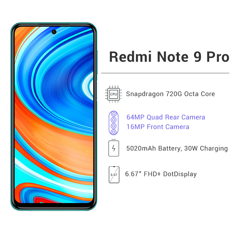 Global Version Xiaomi Redmi Note 9 Pro 6GB 64GB / 128GB Snapdragon 720G 64MP AI Quad Camera Smartphone Note 9 Pro 5020mAh 30W QC