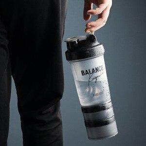 Спортивный шейкер бутылка 500 ml протеин порошок бутылка для смешивания спортивные Фитнес тренажерный зал шейкер Портативный Пластик Botella Mezclador белка