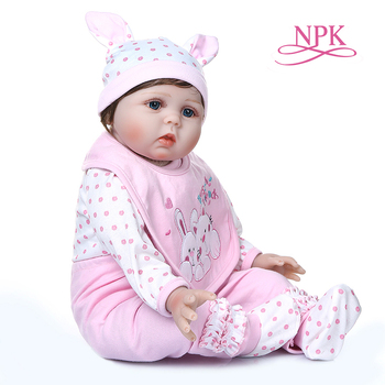 55CM lifelike reborn baby doll  soft real cuddly baby girl in pink rabbit dress high quality silicone weighted doll