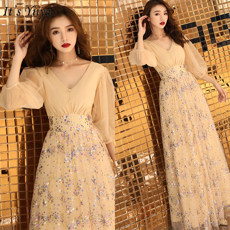 It's Yiiya Evening Dress Champagne Sequins Formal Gowns Long V-neck Evening Dresses Elegant Puff Sleeve Robe De Soiree LF164