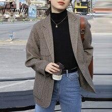 PEONFLY Fashion 2020 Spring Women's Blazer Korean Long Sleeve Notched Single Bre