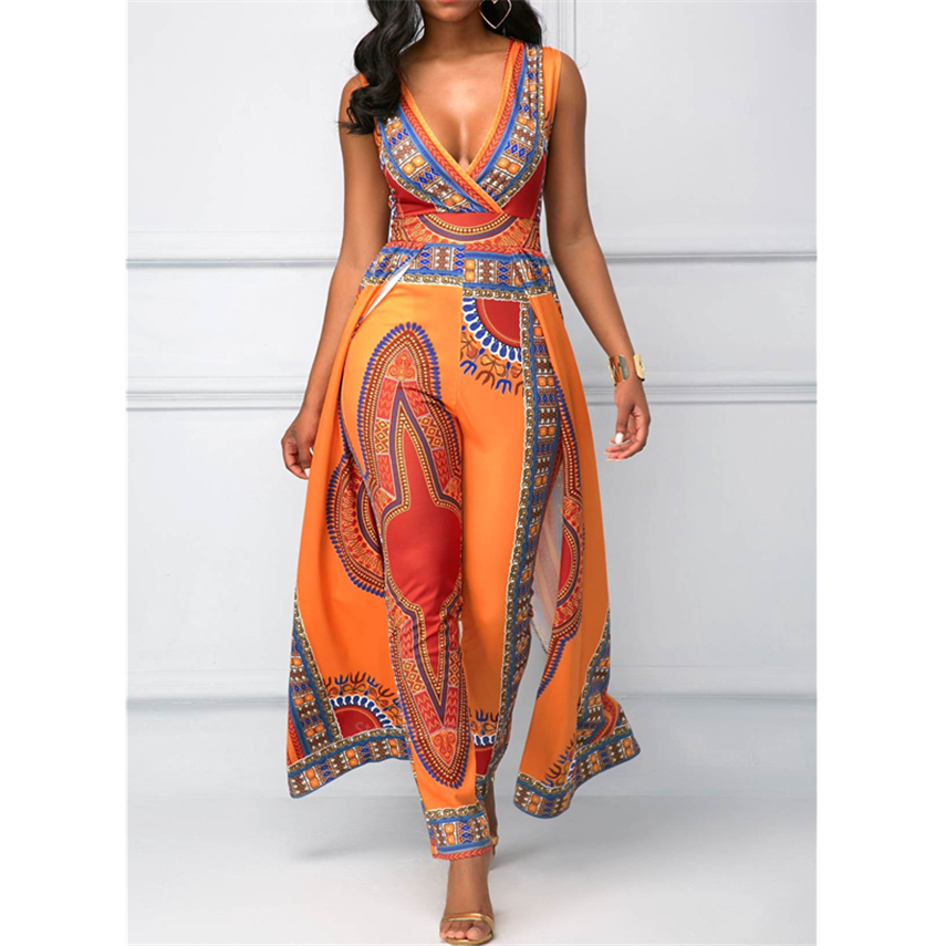 Fashion 2020 African Clothes Dashiki Print Ankara Jumpsuit Plus Size Ethnic Sleeveless African Dresses For Women Split Pants