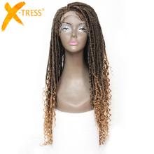 X-TRESS Faux Locs peruki syntetyczne prosto Ombre brązowe kolorowe szydełkowe warkocze peruka dla czarnych kobiet miękkie Dreadlock kręcone fryzury tanie tanio Niska Temperatura Włókna Długi Dreadlock Perukę Włosów Średni brąz Średnia wielkość Swiss koronki Ombre Brown