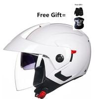 Motorcycle Open Face Helmet DOT Street Legal, Clear Visor and inner dark lens, Matte Black, Large