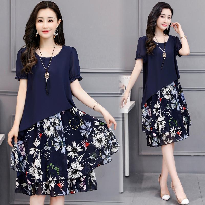 2019 Summer Wear New Style Plus-sized WOMEN'S Dress Floral Dress Fat Mm Sister Mock Two-Piece Chiffon Printed One-piece Dress
