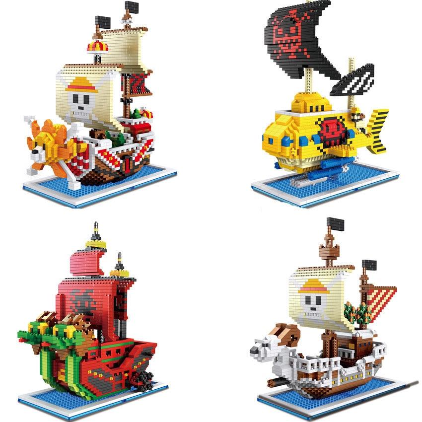 Мини-кирпич, один кусок, пиратский корабль, набор строительных блоков, веселая тысяча солных змей, строительная игрушка для детей