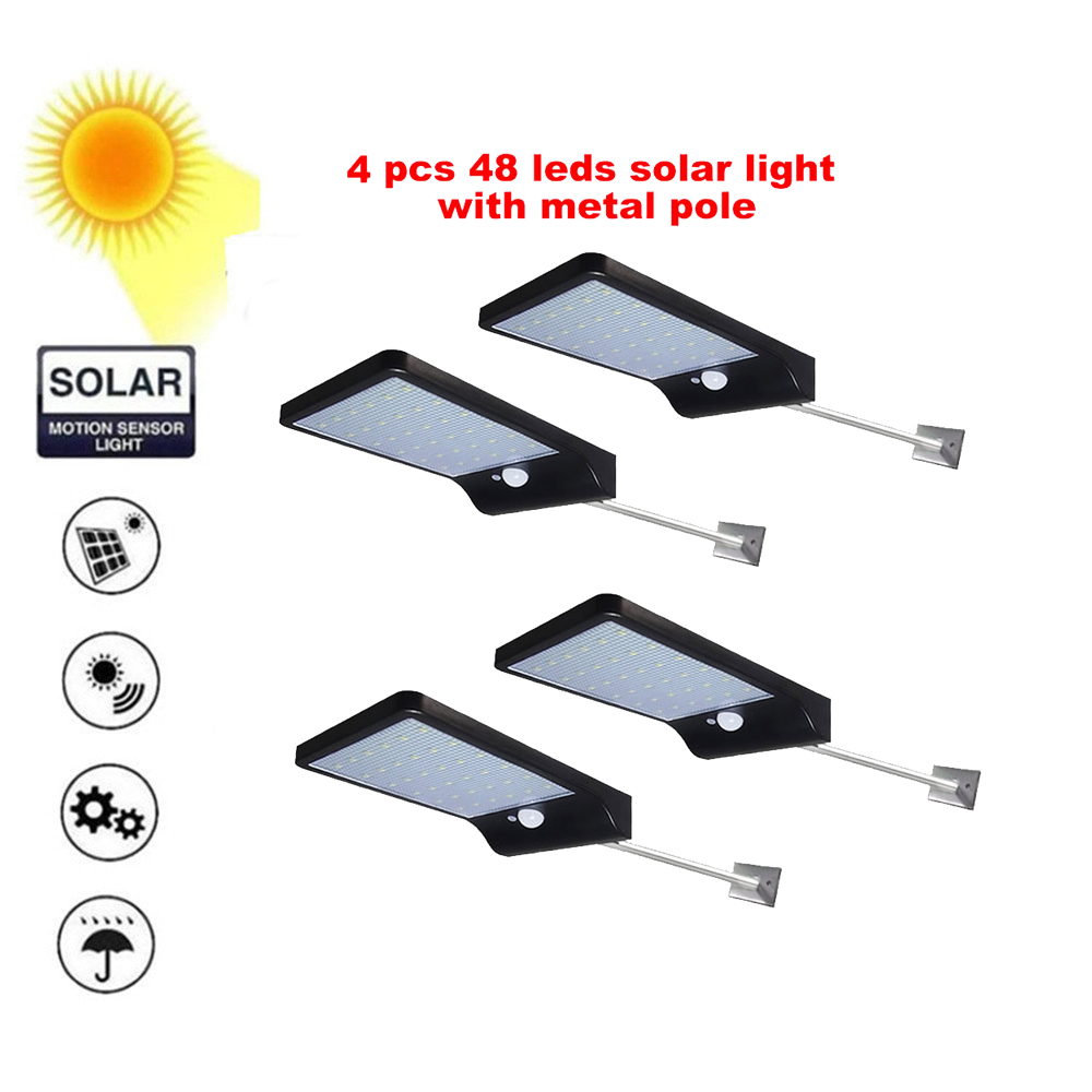 2/4pcs 48 Leds Solar Panel Powered LED PIR Motion Sensor Lamp Night Light Waterproof Outdoor Garden Wall Street Security Lights