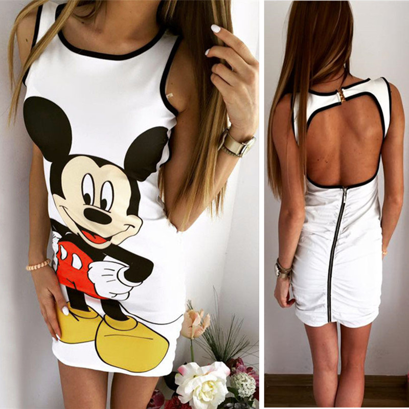 minnie mickey women cartoon pencil short cute dress miki sexy vestidos cute clothes female party dress open back backless(China)