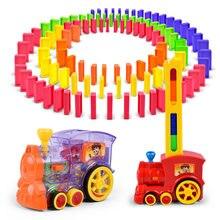 Brinquedos do carro o jogo de dominó conjunto de brinquedo colocação automática dominó trem carro com luz som blocos de construção educacionais diy brinquedo presente