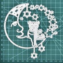 DiyArts Bear Sit On Moon Metal Cutting Dies Star For Craft Card Scrapbooking 2020 New Embossing Stencil Template Die Cuts diyarts die cutting cute panda animal metal with clear stamp diy decorative embossing scrapbooking craft card stencil template