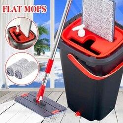 Zestaw wiaderek do czyszczenia mopów płaski Mop do wyciskania ręczny bezpłatny Spin do czyszczenia wrapping Floor Wet Dry use automatyczne czyszczenie Lazy Mop Home w Mopy od Dom i ogród na
