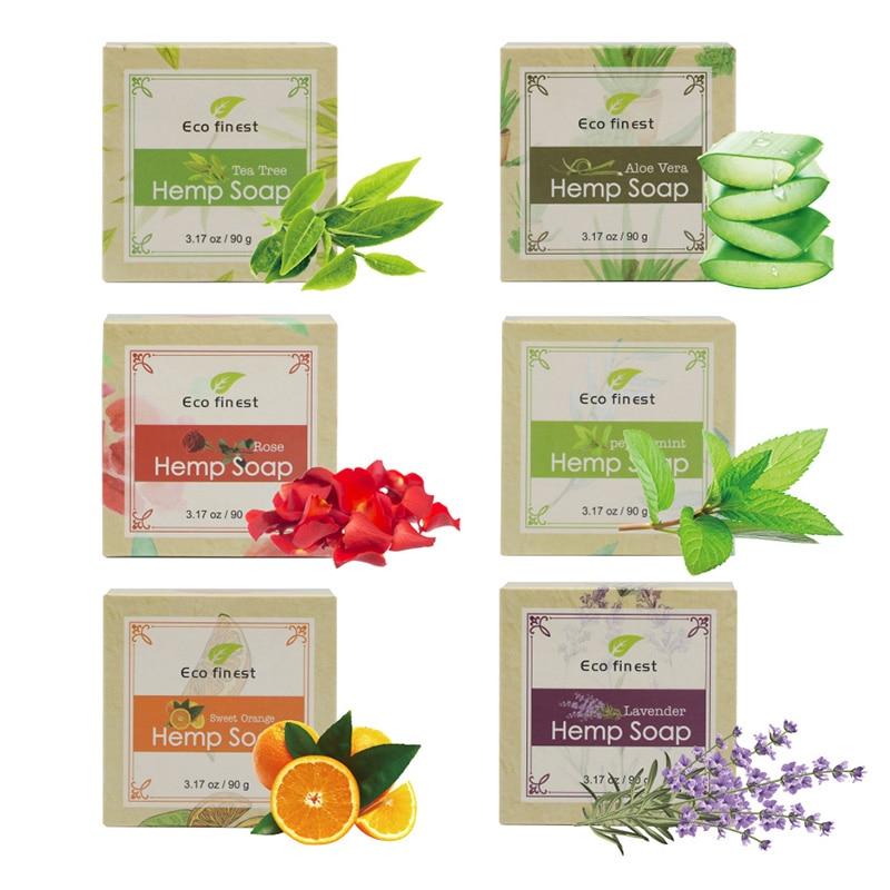 6 Pcs Handmade Hemp Oil Soap Skin Care Revitalizing Scent With Tea Tree Rose Lavender LDO99