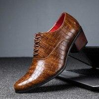 Heißer Verkauf Krokodil männer Ferse schuhe Formalen Leder Braun Männer Loafers Kleid Schuhe Fashion Mens Casual Schuhe Zapatos Hombre 2021