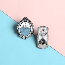 Time Hourglass Magic Mirror Lapel Enamel Pins Retro Design Style Brooches Badges Clothes Bag Pins Jewelry Gifts For friends