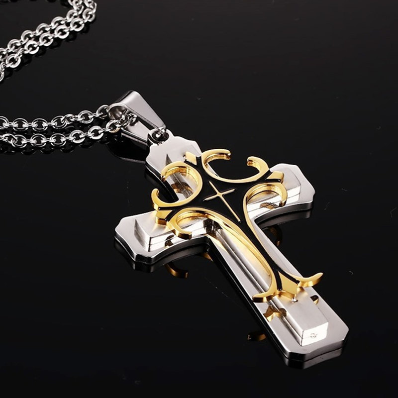 2019 New Fashion Cross Pendant Necklace for Men Multi-layer Metal Creative Cross Gold and Silver Color Pendant Long Necklace