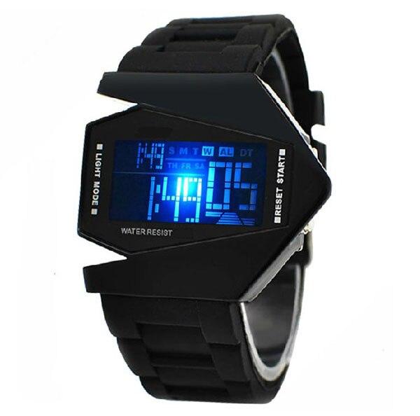 Sport Watch Airplane Aivator Pilot LED Flashlight Alarm Men Sport Cuff Watch Black para hombre спортивные часы relogio digital