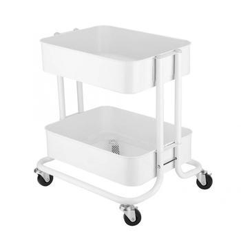 2 Tier Shelf Universal Rolling Wheels Storage Rack Hair Salon Accessories Barbershop Beauty Trolley Cart