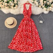 Verão longo maxi vestido elegante feminino sem costas sexy halter magro longo floral impressão grande swing praia vestido para as mulheres vestidos
