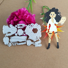 Beautiful knife girl or woman metal cutting die stamping scrapbook paper process template DIY
