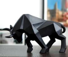 Geométrico gado estátua touro boi escultura ornamento abstrato animais estatuetas sala de estar decoração para casa acessórios morden