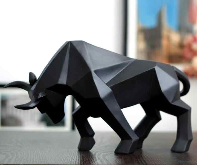 เรขาคณิตวัวรูปปั้น OX Bull ประติมากรรมประติมากรรมสัตว์ Figurines ห้องพักตกแต่งบ้านอุปกรณ์เสริม Morden
