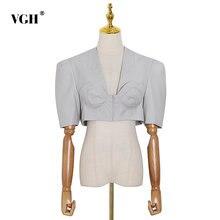 Женская короткая блузка vgh базовый черный топ с v образным