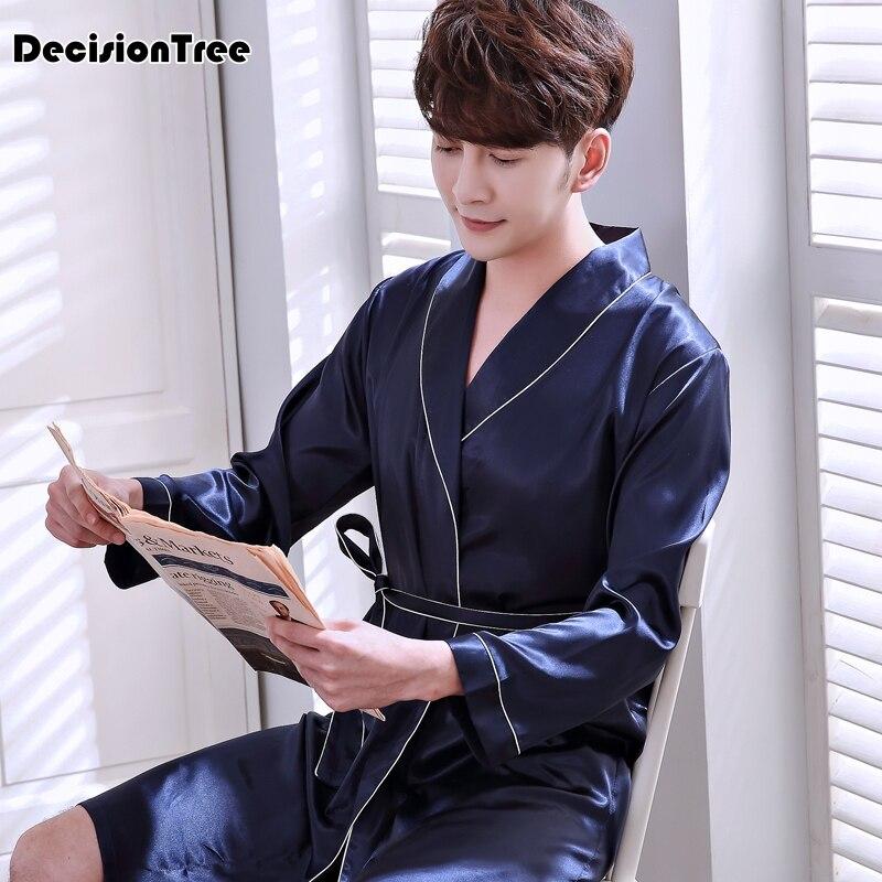 2020 Lovers Soft As Silk Long Bathrobe Men Flannel Kimono Bath Robe Mens Lounge Coral Fleece Dressing Gown Male Robe