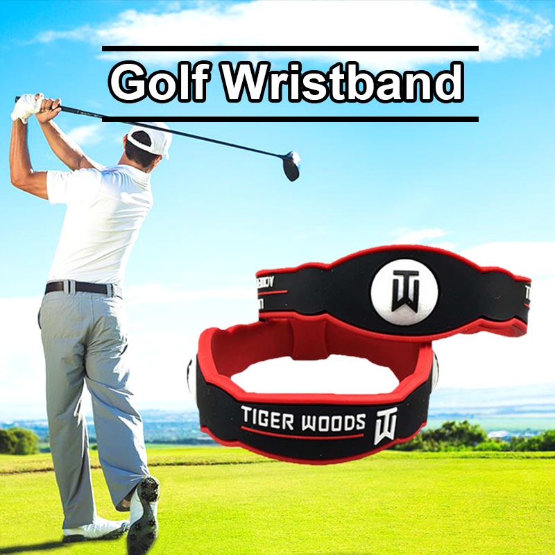 2019 Wholesale Men Women Silicone Black and Red Color T Woods Energy Golf Wristband Outdoor Sport Golf Training Aids Accessories