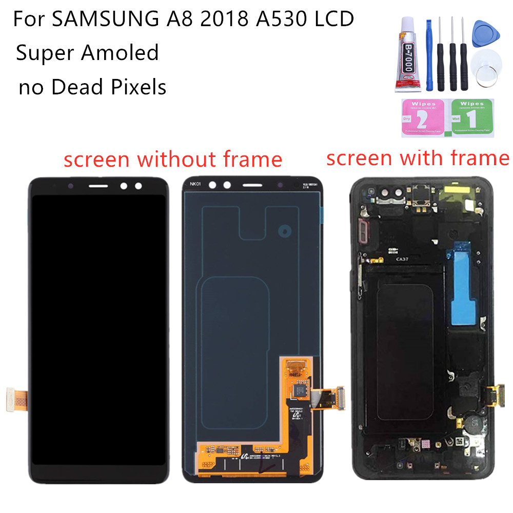 Super AMOLED For Samsung A8 lcd A530 2018 touch <font><b>screen</b></font> digitizer Assembly <font><b>A530f</b></font> with frame A530 lcd <font><b>replacement</b></font> repair parts image