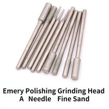 Diamond Grinding Head A Needle  /400Mesh Fine Sand Polishing Grinding Head / Flat Head Cylindrical Jade Polishing Grinding Head