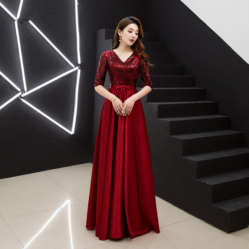 Late Formal Dress Long 2019 New Style Banquet Sequin Chorus Costume Host Formal Dress Choral Service Long Skirts Women's