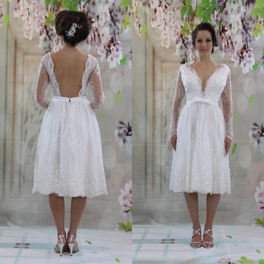 Vestido Noiva Curto Long Sleeve Beach Wedding Dress Knee Length 2020  Wedding Gowns Handmade Short Bridal Dresses