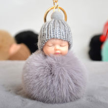 Rabbit Fur Ball Sleeping Baby Doll Keychain Pompom Car Keyring Baby Key Chain Women Key Holder Bag Pendant Jewelry(China)