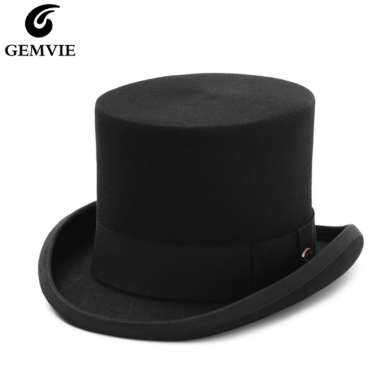 GEMVIE 5.4 inch 100% Wool Felt Top Hat For Men/Women  Cylinder Hat Topper Mad Hatter Party Costume Fedora Magician Hat New