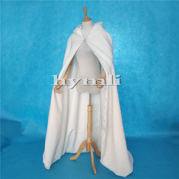 2019 New Ivory Thick Cloak Hooded Full Faux Fur with Satin Lining Wedding Cape Bridal Cloak Renaissance Medieval Clothing