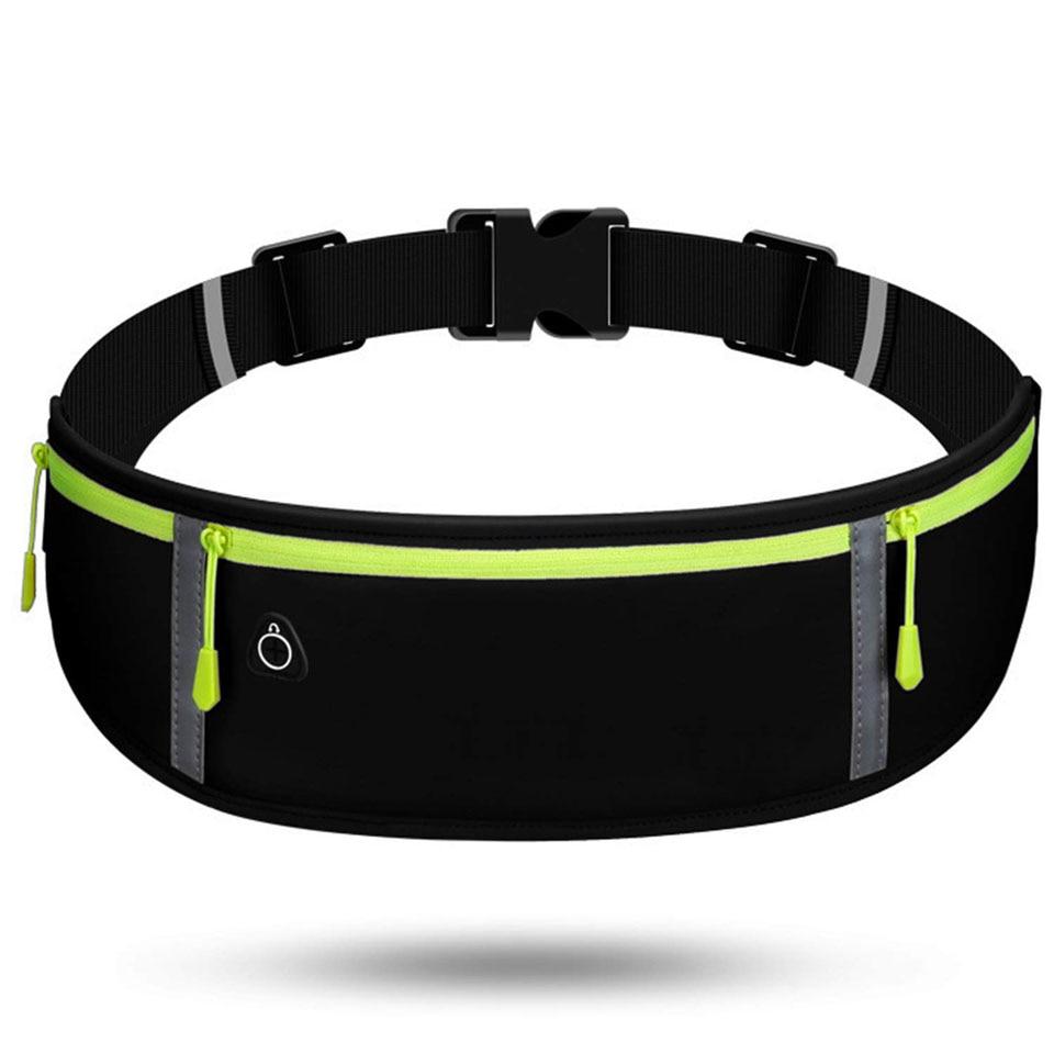 Reflective Unisex Running Belt Bag Sport Waist Band Bag Pack Travel Jogging Waist Pack Gym Fitness Bag For 6.5 Inch Phone Holder