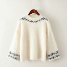 New fashion, loose round neck, embroidery, small, fresh leaves, and autumn winter knits  sweater women