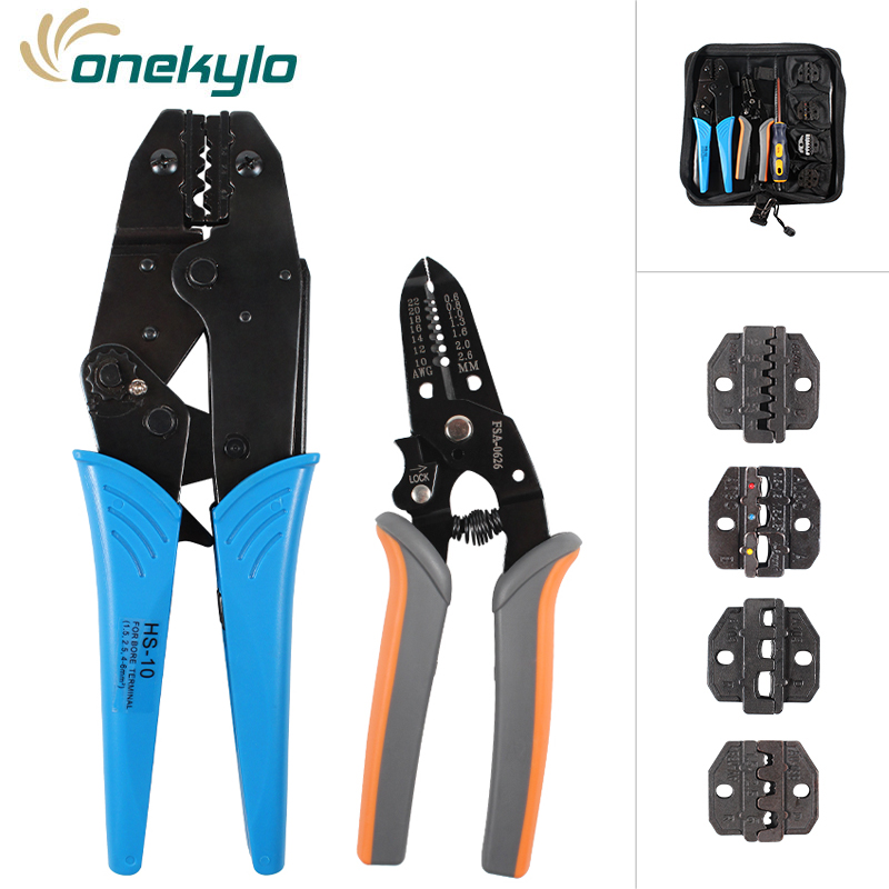 crimping Tool set terminals crimp wire stripping pliers and 4 jaw A103/<font><b>A03C</b></font>/A04WFL/AV-03B for various terminals tools kit image