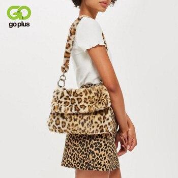 GOPLUS Women's Bag  Vintage Fur Bag Leopard Shoulder Bag Furry Handbag Fashion Crossbody  Brand Bag New Designer Clutch