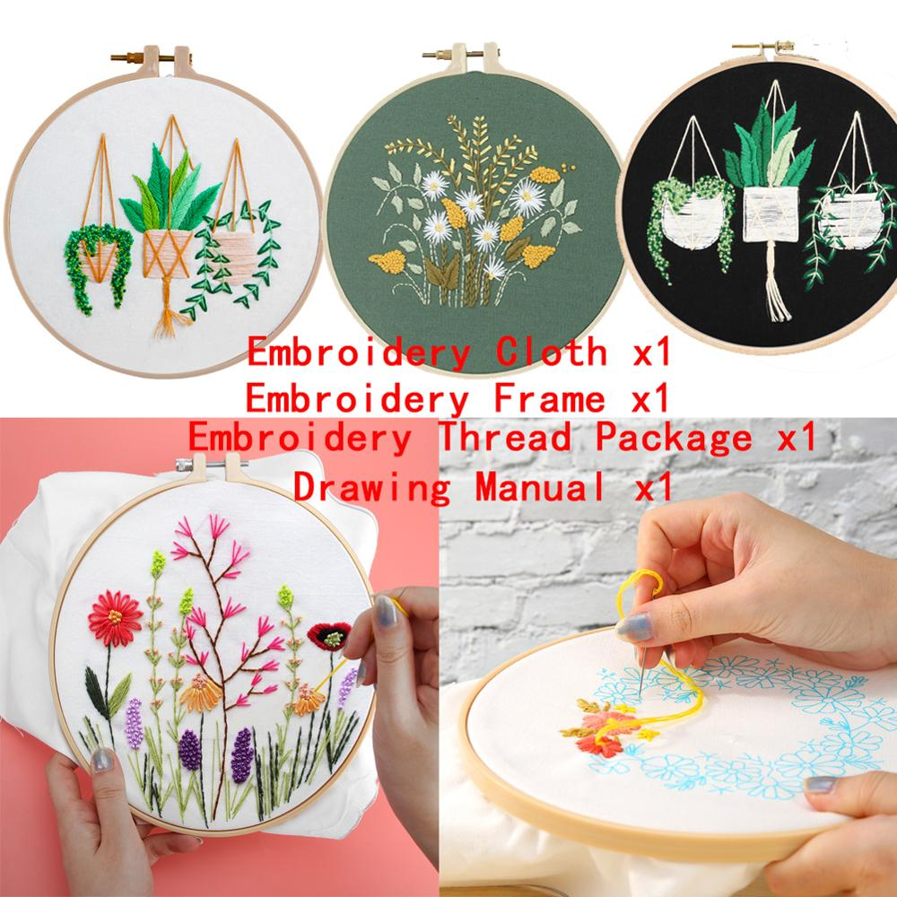 1 Pack Embroidery Starter Kit With Pattern 30 X 30cm DIY Flowers Embroidery Kit Needlework Cross Stitch Handwork Craft