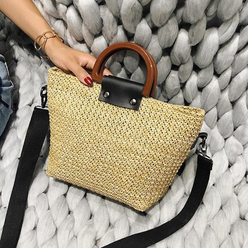 2019 New Fashion Shoulder Bags For Women Straw Bag Summer Rattan Bag Handmade Woven Beach Bohemia Handbag sac main femme purse in Shoulder Bags from Luggage Bags