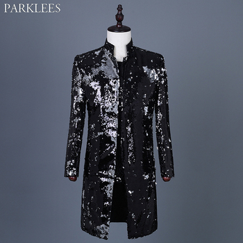 Mens Embellished Sequin Blazer Coat Jackets Shiny Glitter Flipping Sequins Suit Jacket Stage Party Dance Singer Costume Homme