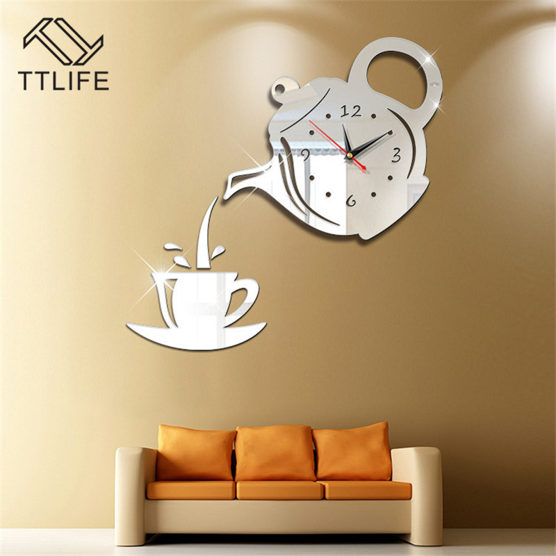 TTLIFE Multicolor Kunststoff Teekanne Wanduhr <font><b>3D</b></font> Wand Aufkleber Acryl Abnehmbare Spiegel Wand Aufkleber Hause Spiegel Aufkleber Wandbild 2019 image