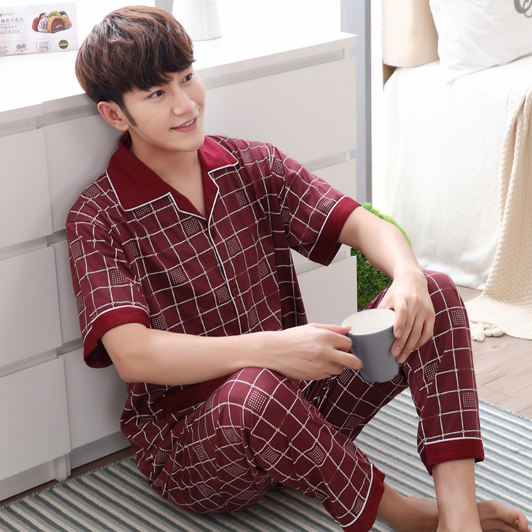 Men's Summer Sleepwear Pajamas Sets Youth Cardigan Men's Pajamas Knitted Cotton Short-Sleeved Trousers Home Service Men's Pajama