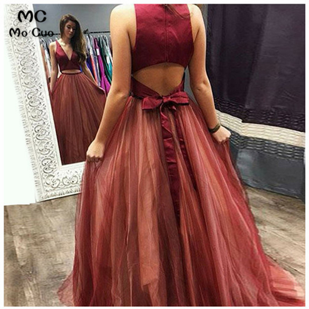 Two Pieces Gown Burgundy Long   Prom     Dresses   Evening Gown Deep V Neck Tulle Vestido de festa Women   prom     dresses   Custom Made