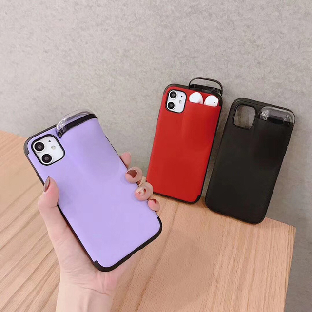 Fashion New design 2in1 phone case For iPhone 11 Pro Max XS Max XR 7 8 6 6S Plus Hard cover with Earphone case For AirPods Case 1