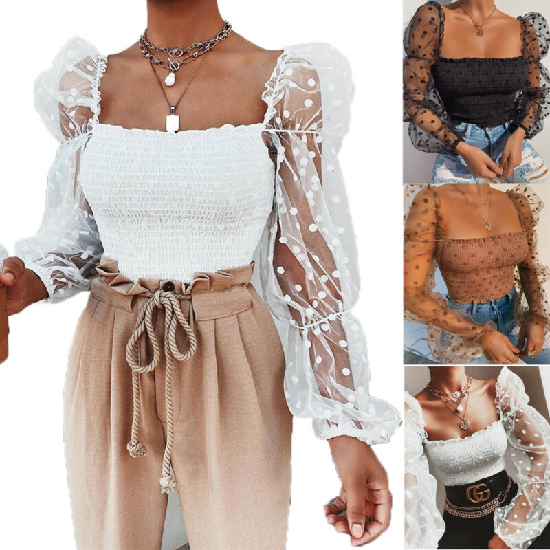 Sexy Women Lace Blouse Elastic Top Shirt Transparent Lace Puff Sleeve Square Net