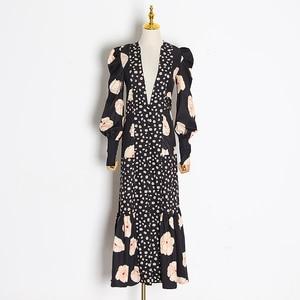 Image 5 - TWOTWINSTYLE Patchwork Print Dress For Women V Neck Lantern Sleeve High Waist Dresses Female 2020 Autumn Large Size Fashion New
