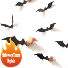 12pcs/pack DIY Halloween Black Red 3D Bat Sticker Removable Wall Stickers Strong Paste Festival Sticker Home Decor Room Posters(China)