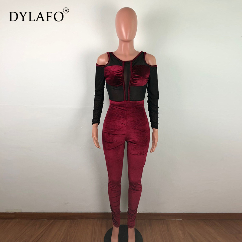 Autumn Winter Women Jumpsuits Rompers Off Shoulder Long Sleeve Velvety Patchwork Mesh Solid Color Skinny Slim Jumpsuits Overalls Pants & Capris Women Bottom ! Plus Size Women's Clothing & Accessories